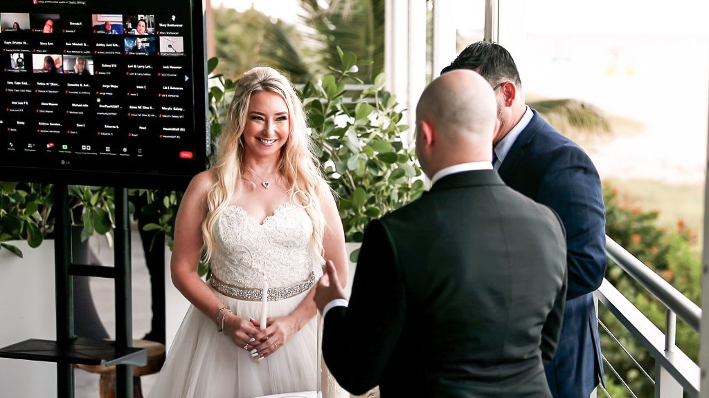Zoom Live Stream Wedding At Oceanic Pompano Beach By Miami Wedding Photographers Ashley and Erik Photography Featuring Katie and Danny